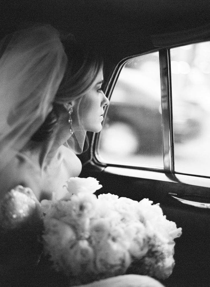 Romantic black and white wedding photo.