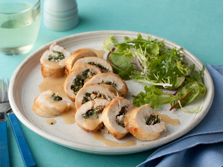 Spinach and Mushroom Stuffed Chicken Breasts from FoodNetwork.com-Reduce the butter to make lowfat