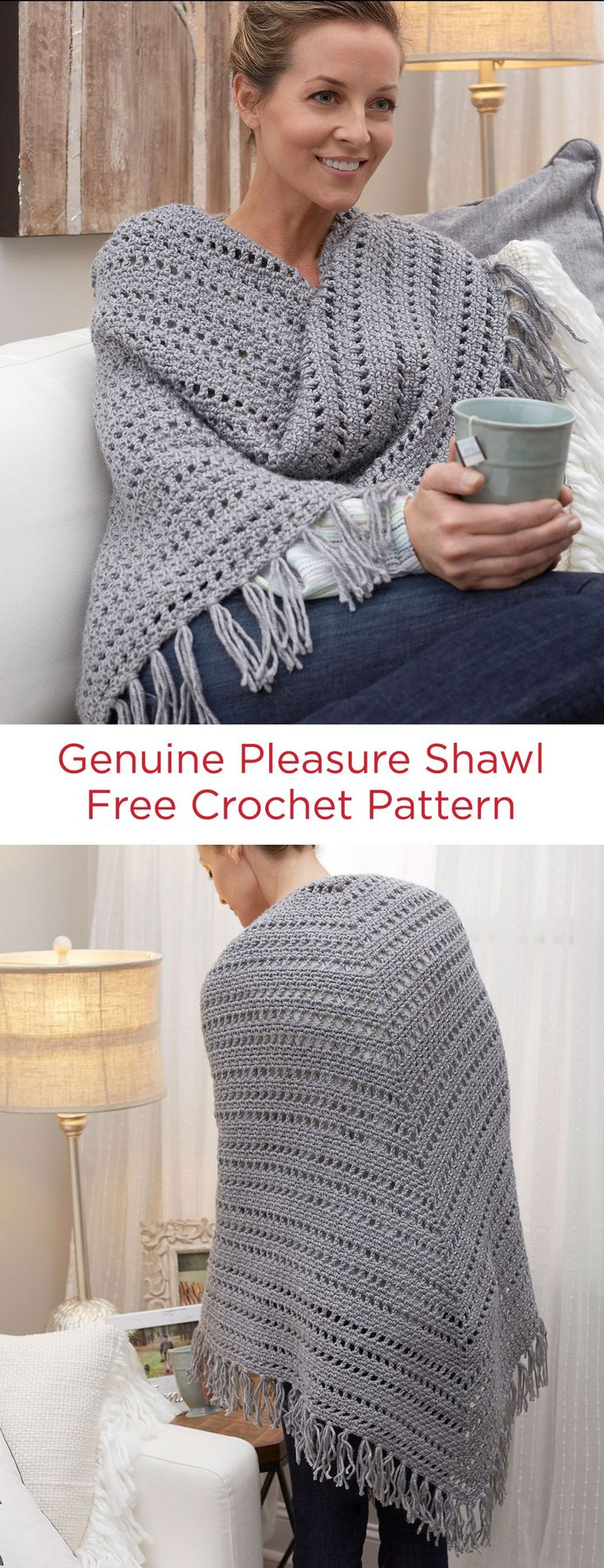 Genuine Pleasure Shawl Free Crochet Pattern in Red Heart Yarns -- When you need a little cozy comfort and relaxation, this shawl will ease you into a beautiful mood. Extra roomy and able to wrap around yourself, crochet it to keep or to give to a friend.