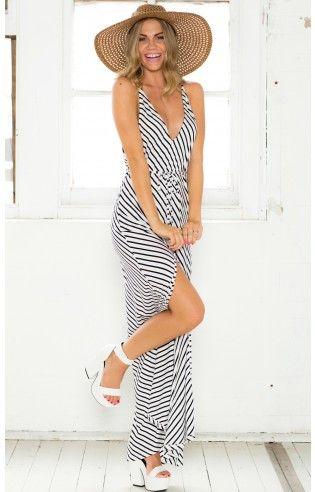 Last Stop maxi dress in white stripe