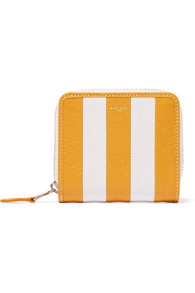 Balenciaga - Striped Textured-leather Wallet - Yellow - one size