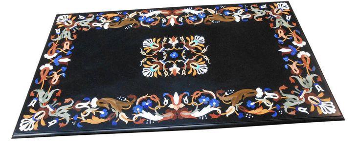 Marble Dining Table Top Pietradura Mosaic Floral Inlay Home Decor Marquetry Gift #AgraHeritageMarbleCrafts #ArtsCraftsMissionStyle #BlackMarble #FloralArt #ExclusiveDiningTable #RealWork #MosaicStones #MarquetryWork #BlackFridayGift #LivingRoomDecor