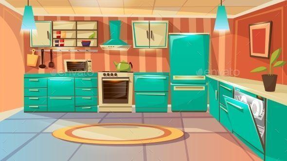 Vector Modern Kitchen Interior Background Template Cartoon Dinner
