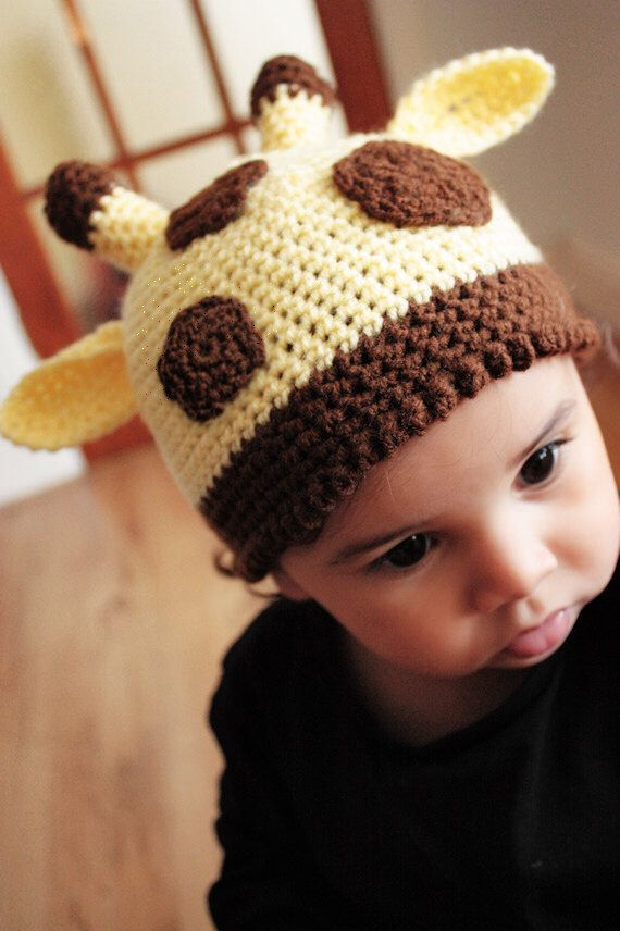 SALE* Giraffe jungle safari hat with a bobble brim in yellow and with brown spots. Handmade with love by Babamoon  - size 0 to 3m -   * Can be made in a choice of colours  * Can by made in sizes Preemie to Adult. * Get 10% off all orders this Christmas!  * Eligible orders Ship for Free! #etsy #accessories #hat #giraffehat #yellow #newbornbaby #junglesafari