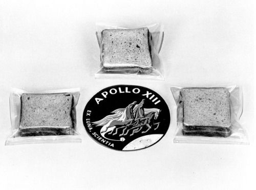 """""""This odd picture (purchased at auction with no explanatory material) is a total mystery. Any information regarding it would be welcome. Given Fred Haise's complaints about the food, it seems unlikely that these sandwiches flew on Apollo 13. The..."""