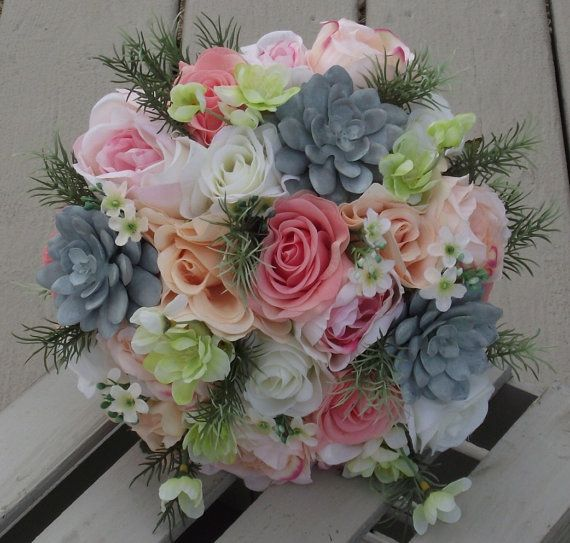 Wedding Flowers,  Rustic Bouquet, Wedding Bouquet, Bridal Bouquet, Flowers blush, mint, grey, navy, pink