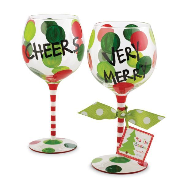 Hand painted christmas wine glasses holiday dots wine for Holiday stemware