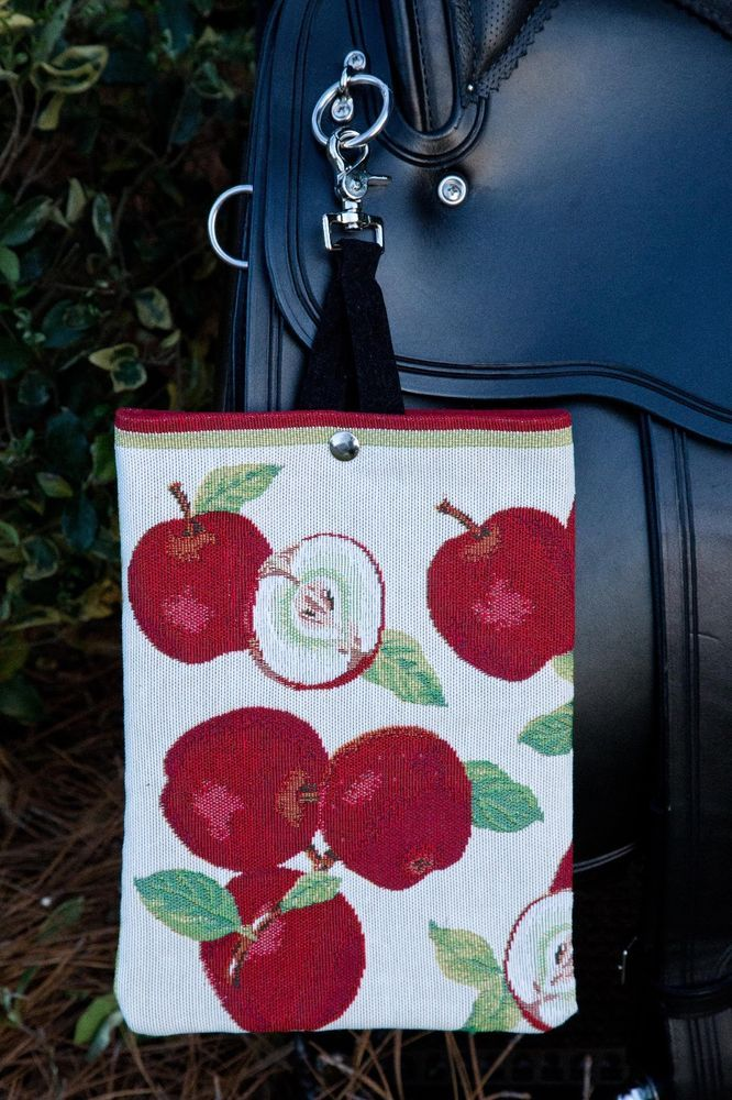Designer Handcrafted Apple Designed Tapestry Saddle Bag With Swivel Attachment #UniquelyHandCrafted