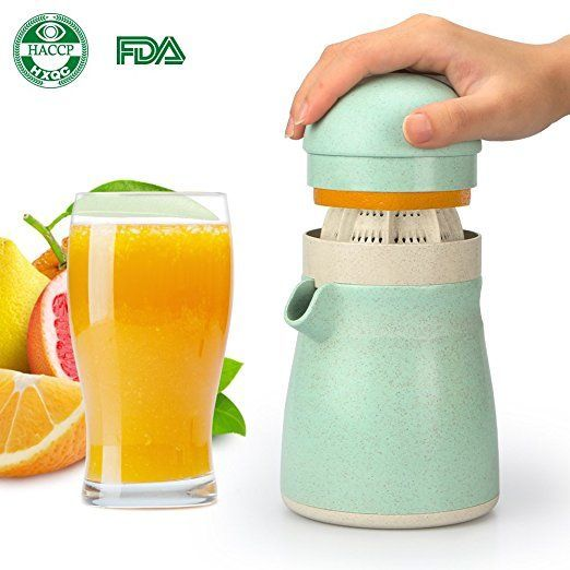 Lemon Juicer Squeezer, Lime Squeezer, Funria 2-in-1 BPA-free Manual Juicer Fruit Press for Lime Orange Citrus with Serving Cup Made by Biodegradable Wheat-Straw