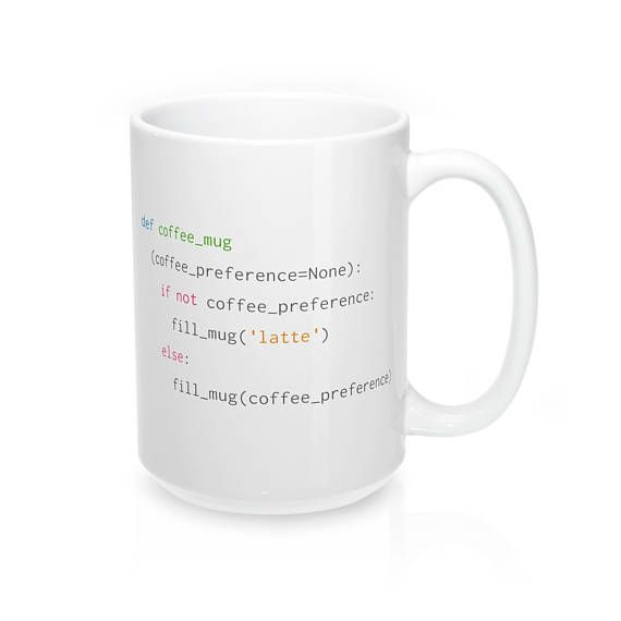 The perfect mug for Python coders with an affinity for latte coffee #python #gifts #coding #giftideas #giftsforher #giftsforhim #programminghumor