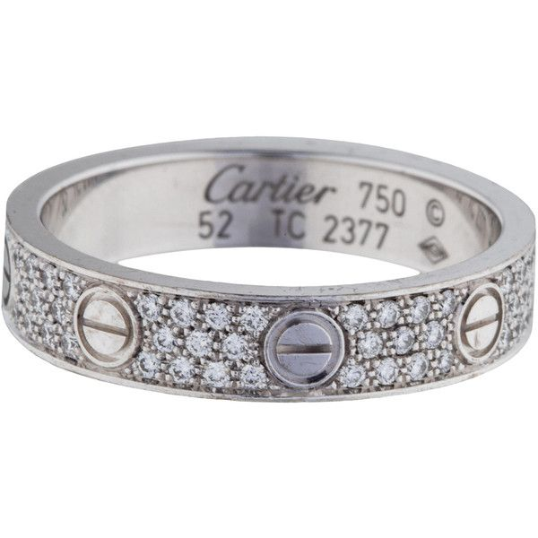 Pre-owned Cartier Diamond-Paved Love Wedding Band ($4,695) ❤ liked on Polyvore featuring jewelry, rings, white gold pave ring, pave ring, pre owned rings, white gold wedding rings and 18 karat gold ring