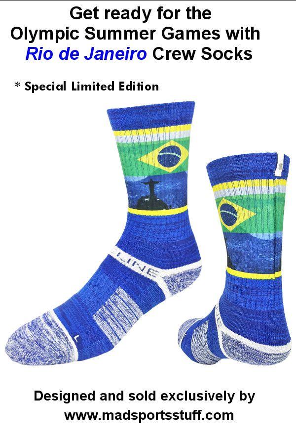 Strideline Brazil Flag socks for basketball or soccer -commemorating the 2016 Summer Olympic Games in Rio!