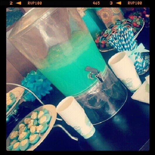 Baby boy shower. Blue lemonade: Country Time lemonade, blue raspberry kool aid, sprite and ice.