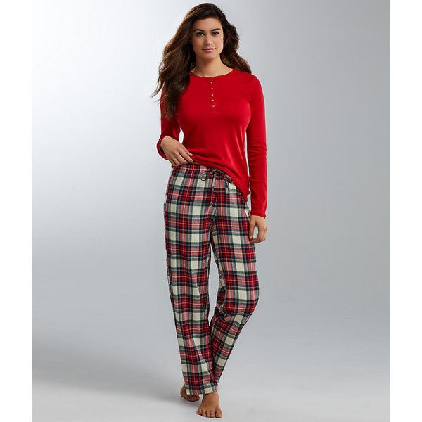 Lauren Ralph Lauren Flannel and Knit Pajama Set (£56) ❤ liked on Polyvore featuring intimates, sleepwear, pajamas, crew neck, women, knit pajama sets, lauren ralph lauren pajamas, j.crew pajamas, knit sleepwear and flannel pajamas