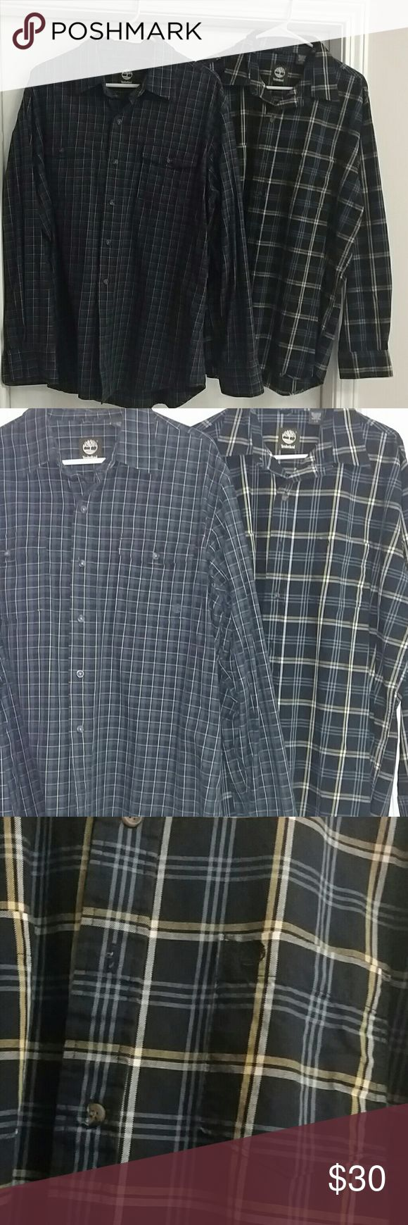 2 Timberland shirt long sleeves 2 shirts. Large size. Great material. Worn only few times. Good condition. Timberland Shirts Casual Button Down Shirts