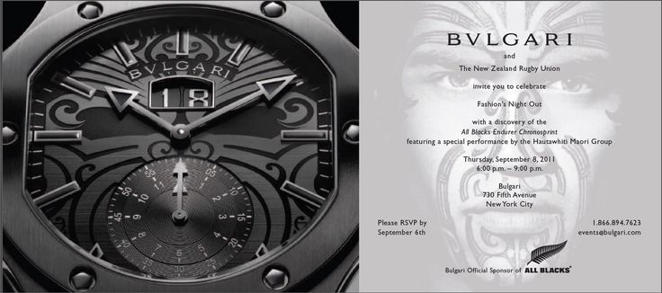 BULGARI + ALL BLACKS The slap of mud and sweat and the crash of tangled limbs that make up a rugby scrum might seem like a world away from the rarefied environs of haute horology, but a new collaboration brings the two polar opposites together in a joint venture.  The project marks a 130 year anniversary for both, hence the joining of forces to create a timepiece that nods to the team's heritage and aesthetic. That both are focused on skill, tenacity, and longevity.