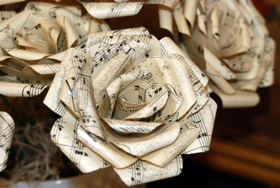 Paper flowers made from vintage sheet music by scrappy9 on Etsy, $4.00