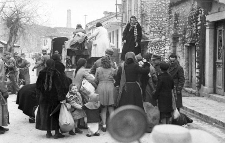 The deportation of the Jews of Ioannina to Larissa, March 1944. From Larissa the Jews were deported to Auschwitz