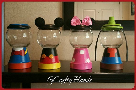 Mickey and Friends Inspired Candy Jars 6 Large by GCraftyHands
