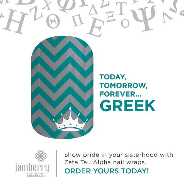 Bond with your big or little with our officially-licensed Zeta Tau Alpha nail wraps. Wear these wraps alone or pair them with Jamberry Professional Nail Lacquer in your sorority colors for spirit fingers that last. **Collegiate and Sorority designs can not be redeemed through host rewards, product credits, buy three get one free or any other special offer. #ZetaTauAlphaJN #ZetaTauAlpha #Jamberry #JamberryConsultant #Nails #NailWraps #NailArt