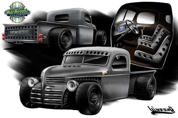 Dodge pickup Rendering Rat rod Hot rod Drawing Andreas Hoås Wennevold