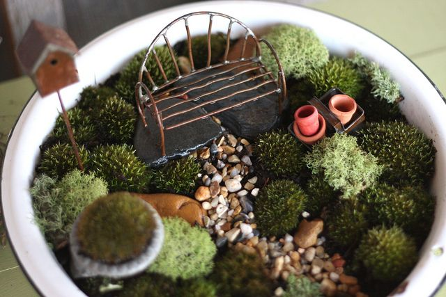 This is a fairy garden built entirely with moss as the plant material... hmmm...