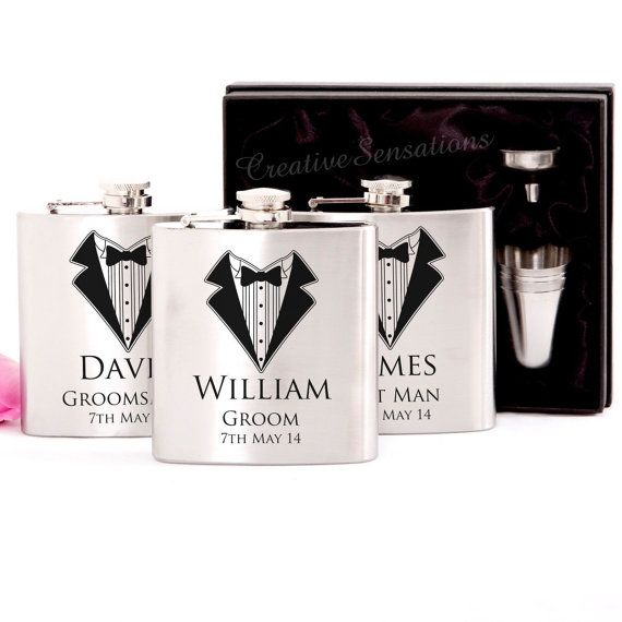 Engraved 6oz Wedding Hip Flask Gift Set Personalised