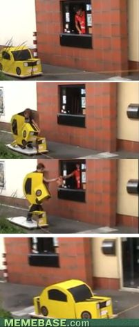 Like a boss...  internet memes - Drive Through Only Allows Cars?