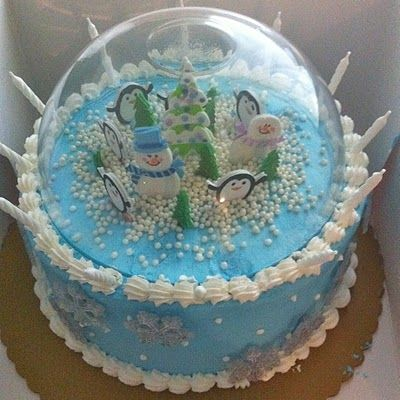 Snow Globe Birthday Cake.  I know someone who would love this.