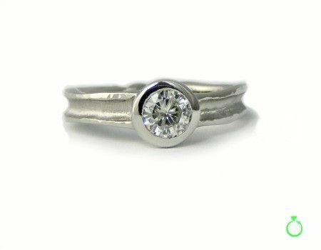Zena Engagement Ring -  Narrow - 5mm Moissanite : Eco-ethical engagement ring made using reclaimed white gold and a beautiful, sparkly, durable, lab-grown Moissanite. Eco-ethical bridal jewellery.