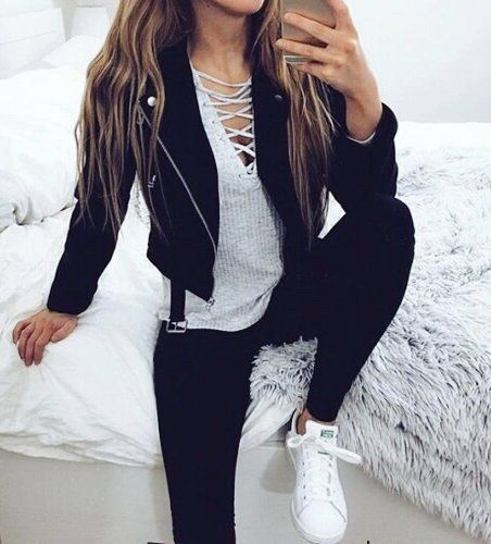 Image of fashion, style, and outfit. Shop for this lace up top at Zefink.com - Item: 2713.   Gorgeous outfit ideas for women who love fashion and want to be stylish and chic.