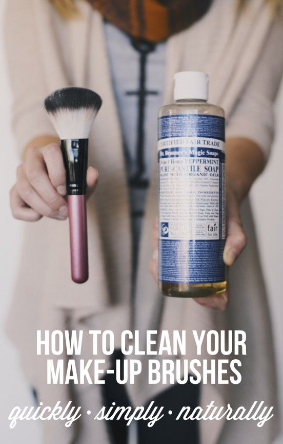 Clean your makeup brushes with Dr. Bronner's Castile Soap. Put 1/2 water and 1/2 Dr. Bronners in a small bowl, enough to soak the bristles. Gently swish the brush around and massage the bristles until all of the makeup comes off. Then rinse in water. Done!