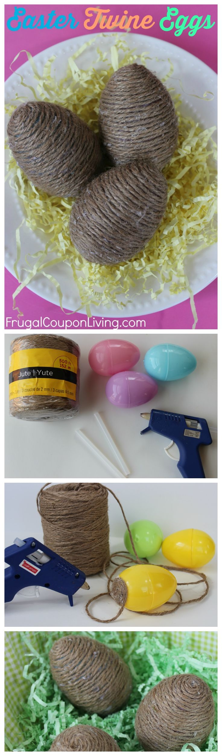 Easter Ideas - DIY Easter Twine Eggs, a Spring Dollar Store Craft on Frugal Coupon Living. Easter Crafts.