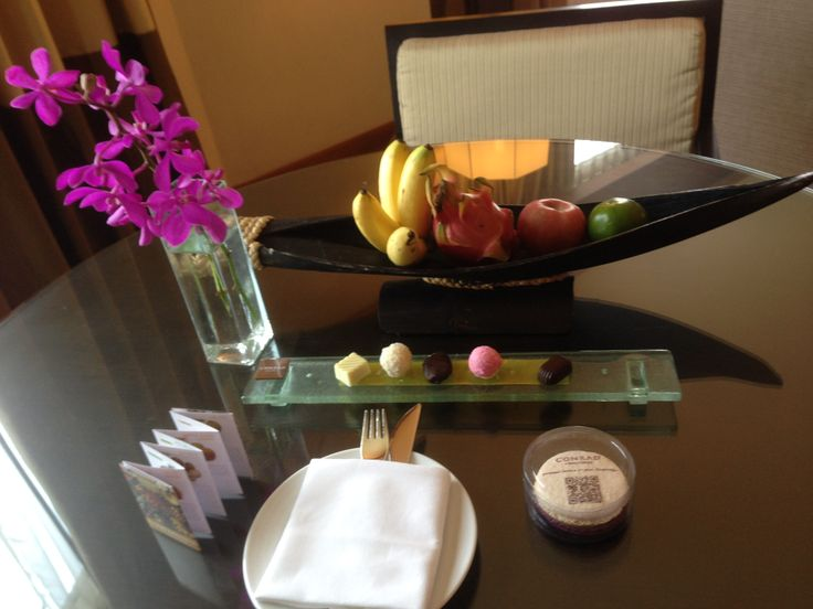 Welcome treats in our suite at the Conrad Bangkok Hotel, Thailand