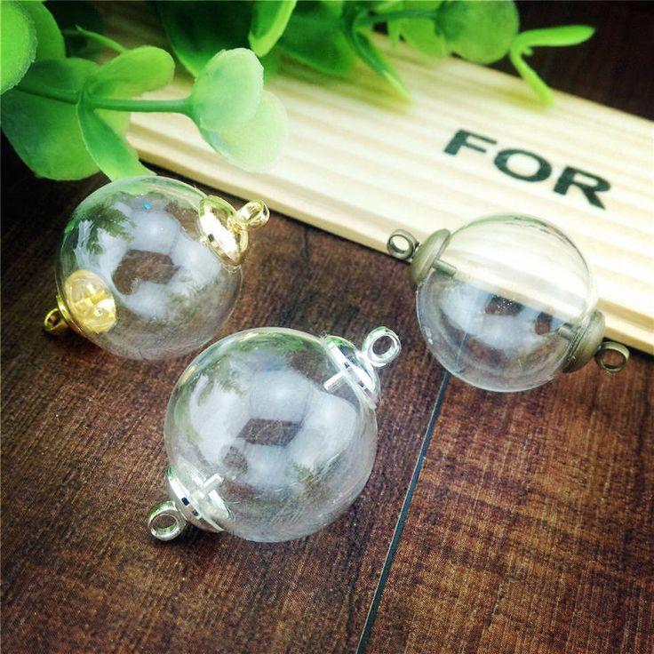 20 компл./лот 20 мм двойной отверстие мяч стеклянный шар бисер cap набор стеклянный пузырек кулон стеклянная бутылка ювелирных изделий купить на AliExpress