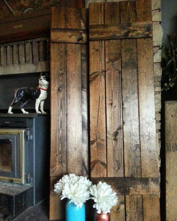 Rustic Wood Shutter Set 36 Wooden Shutter Primitive Shutters Farmhouse Shutter