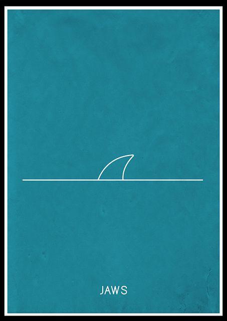 Pregnancia: la figura de un tiburón en un alto grado de simplificación, aun dando a conocer el concepto de la ilustración: Jaws la película.