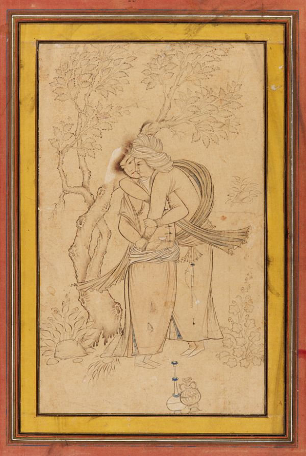Two Youths Embracing  TYPE Drawing HISTORICAL PERIOD(S) Safavid period, 1630s MEDIUM Drawing; ink, watercolor, and gold on paper DIMENSION(S) H x W (drawing): 22.9 × 14 cm (9 × 5 1/2 in) GEOGRAPHY Iran, Isfahan