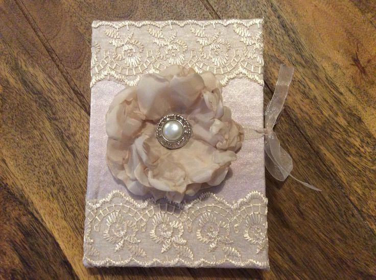Handmade shabby chic notebook, covered in powder pink satin and decorated with lace