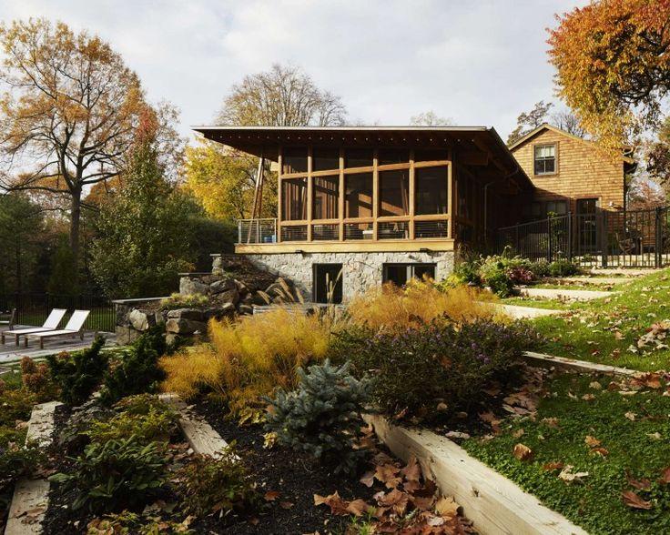 Terrace Landscape - Fall Season - Mid Century - Farmhouse Renovation - Natural Lighting