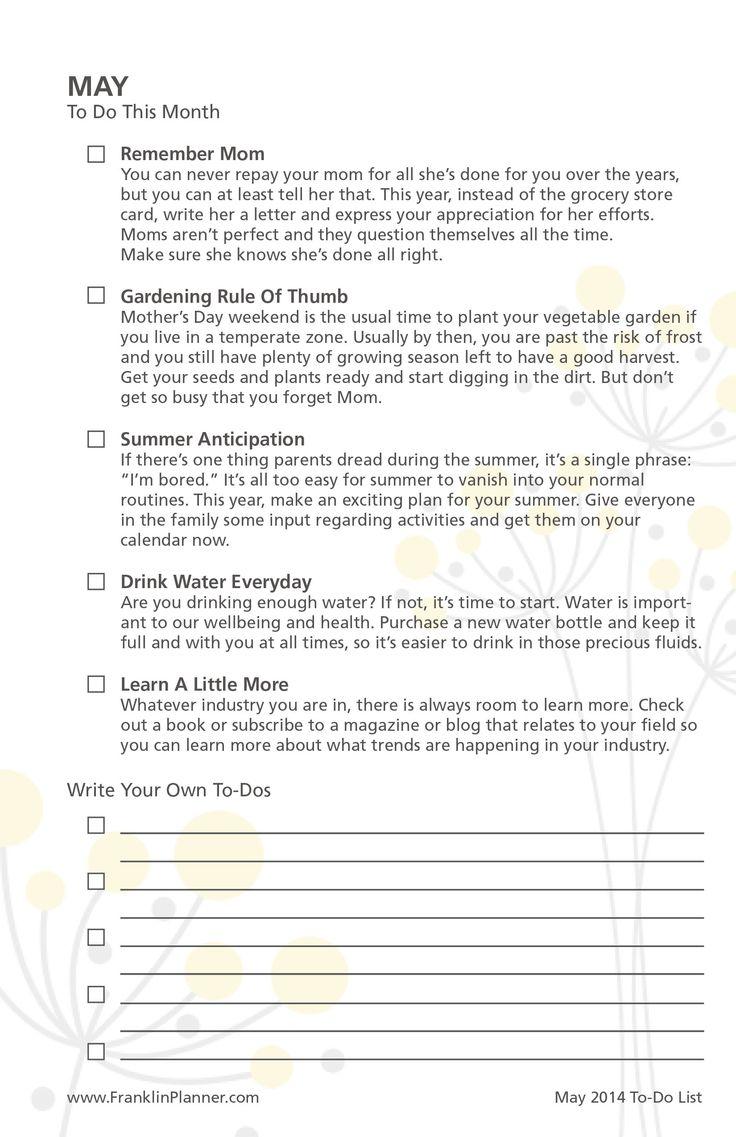 May Planner Checklist