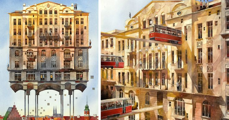 Artist From Poland Nostalgic For 19th Century Warsaw Recreates It In Watercolour | Bored Panda