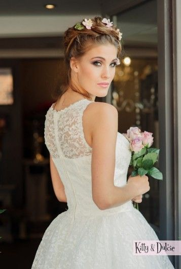 Betty Blossom lace knee length wedding dress