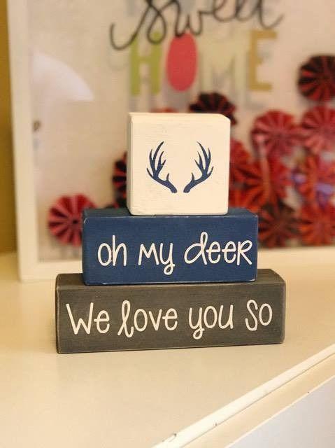 Custom Nursery Blocks, Baby Boy, Baby Girl, Hunting Theme, Oh My Deer, I Love You So, Woodland Home Decor