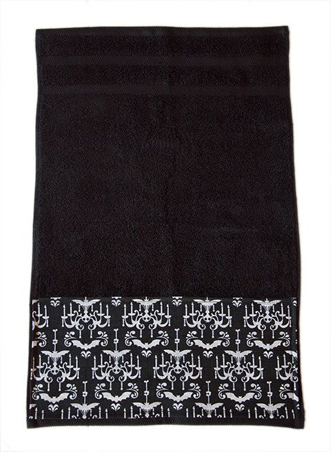 Black Bats & Chandeliers Gothic Bath Towel by Pornoromantic