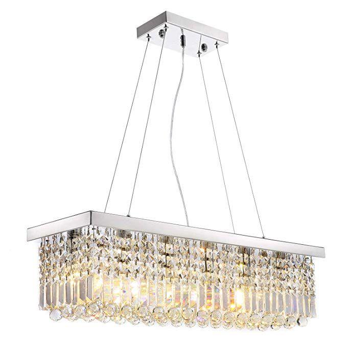 Siljoy Modern K9 Crystal Pendant Chandelier Lighting Rectangular Ceiling Light Rectangle Light Fixture Crystal Chandelier Lighting Pendant Lighting Dining Room