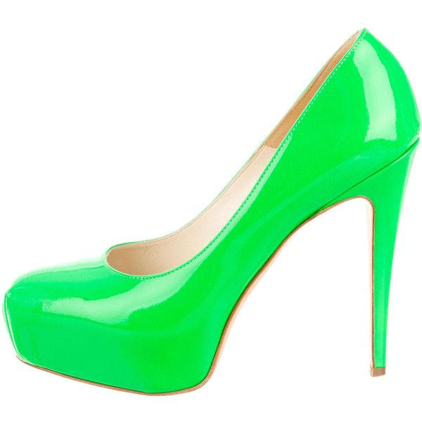 Brian Atwood Neon Patent Leather Pumps ($175) ❤ liked on Polyvore featuring shoes, pumps, green, neon green pumps, round toe shoes, hidden platform pumps, neon shoes and patent pumps