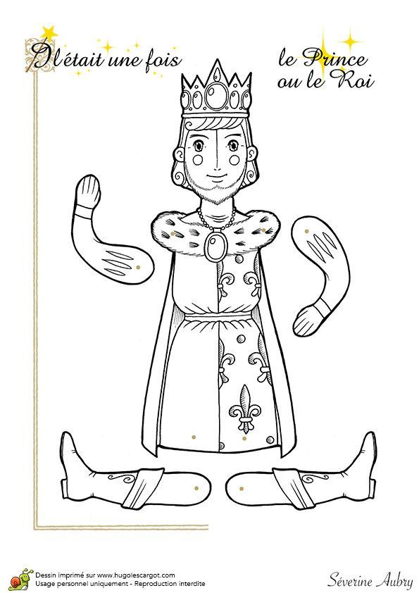 Coloriage d'une marionnette articulée, prince ou roi - Hugolescargot.com