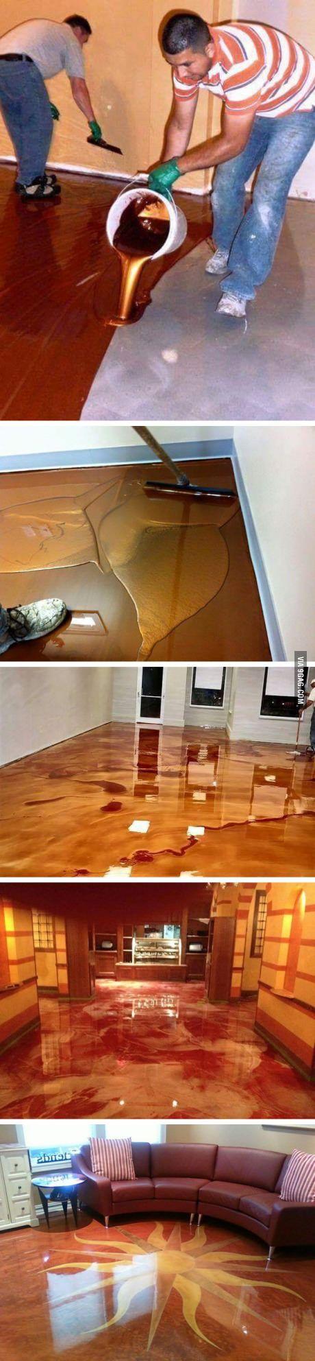 Metallic epoxy floor.