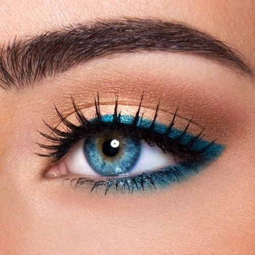 If I were them, I would use either a brown, black, dark green or dark purple eyeliner.. Blue can make your blue eyes look.. Strange in my opinion. But that's my opinion.. If you like it, go ahead